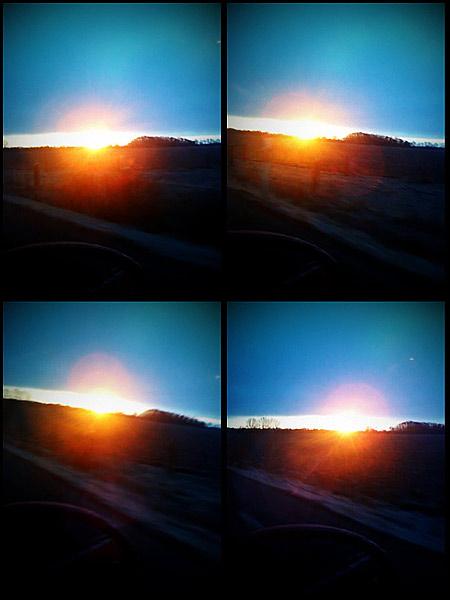 Soluppgång över Utvälinge, på väg till jobbet