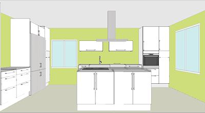 Så hade vi tänkt oss det färdiga köket. Men med bänkskivor och hällen mitt under fläkten...